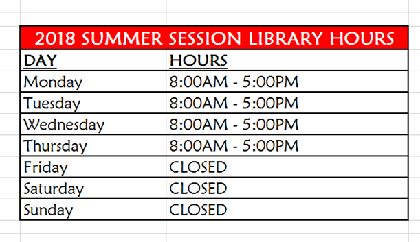 2018 Summer Session Hours