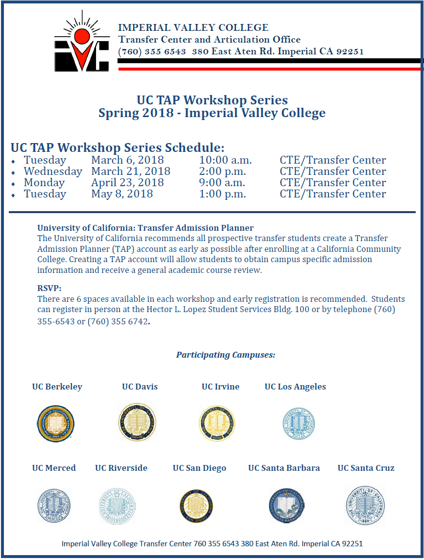 Spring 2018 UCTAP Workshop Series Flyer