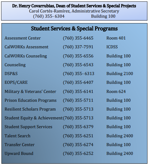 Counseling Services Phone Numbers - 760-355-6543