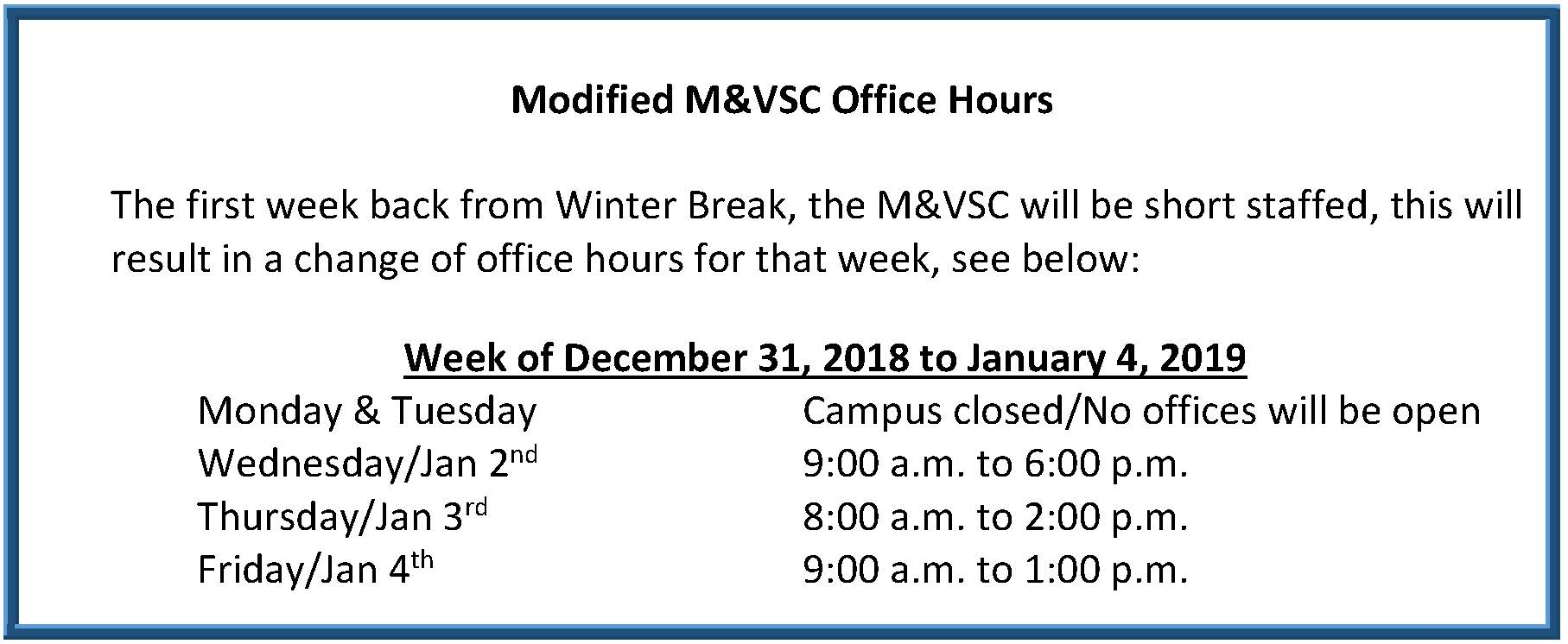 Modified Office Hours