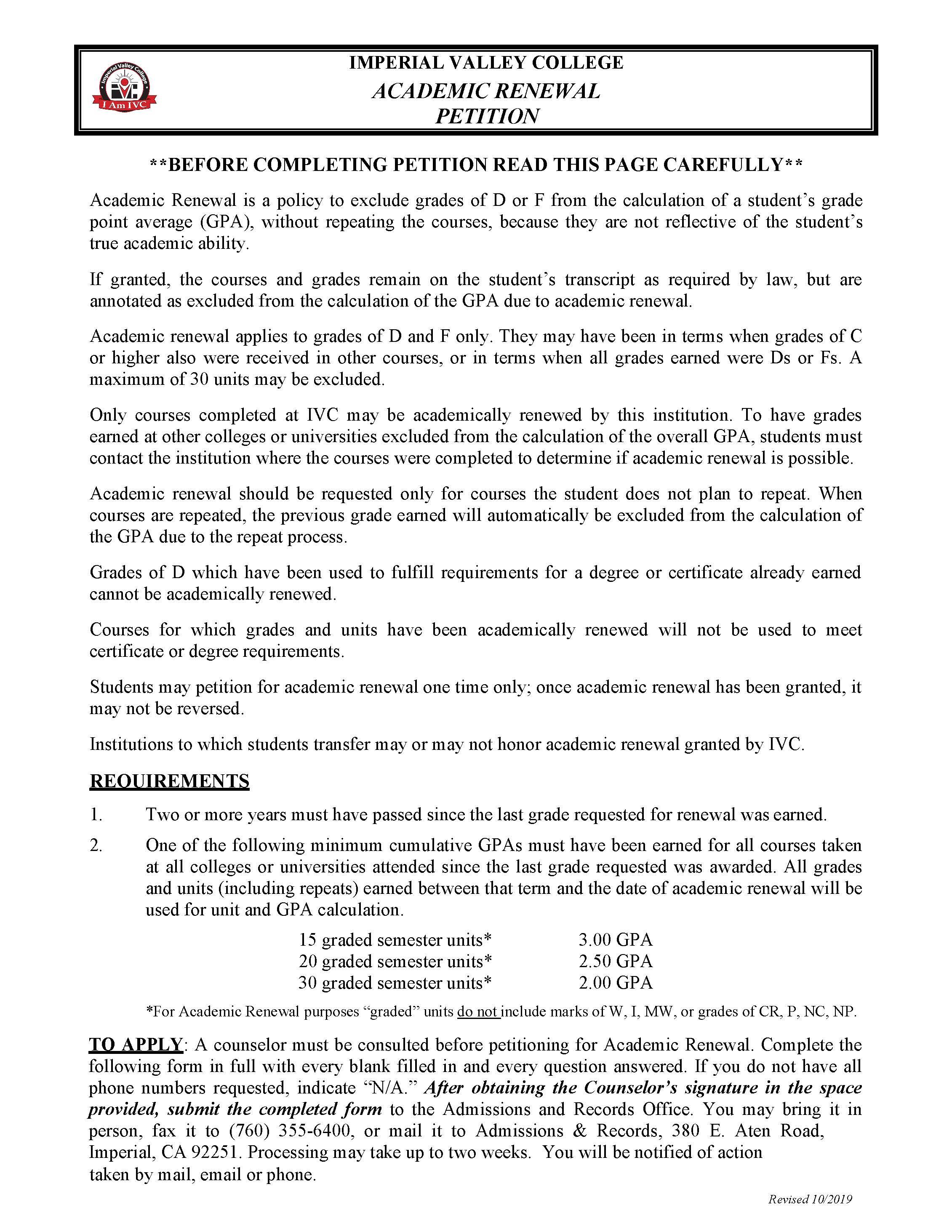 Academic Renewal Petition