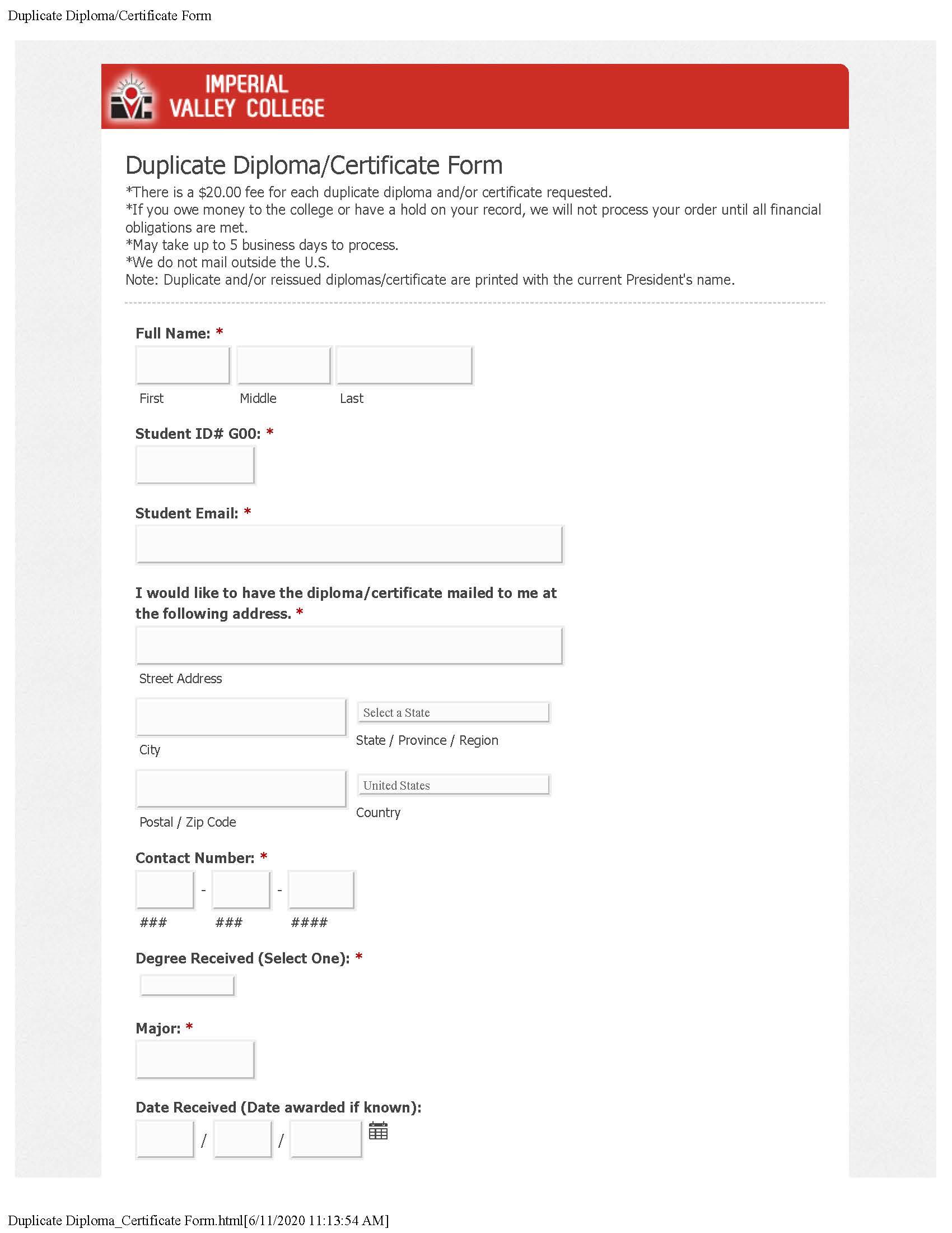 Duplicate Diploma Certificate Form