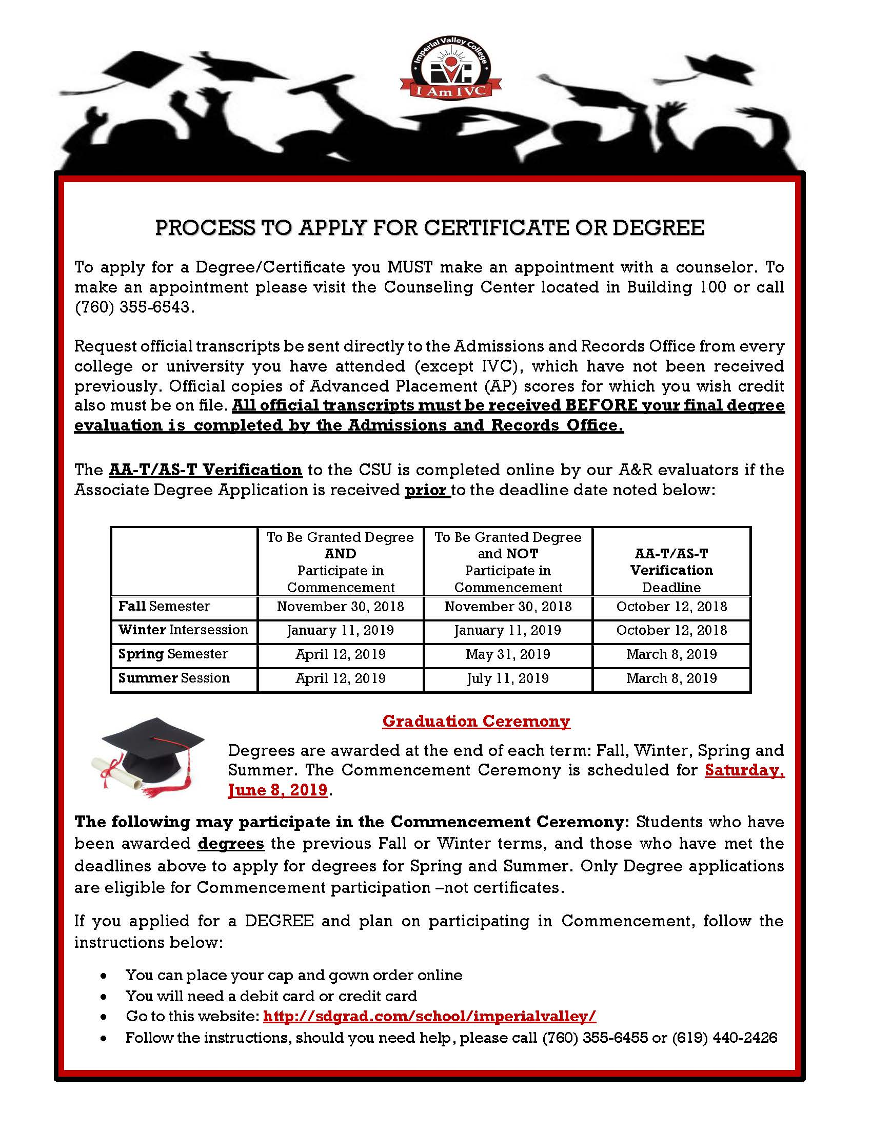 Process to Apply for Certificate or Degree 2018 19