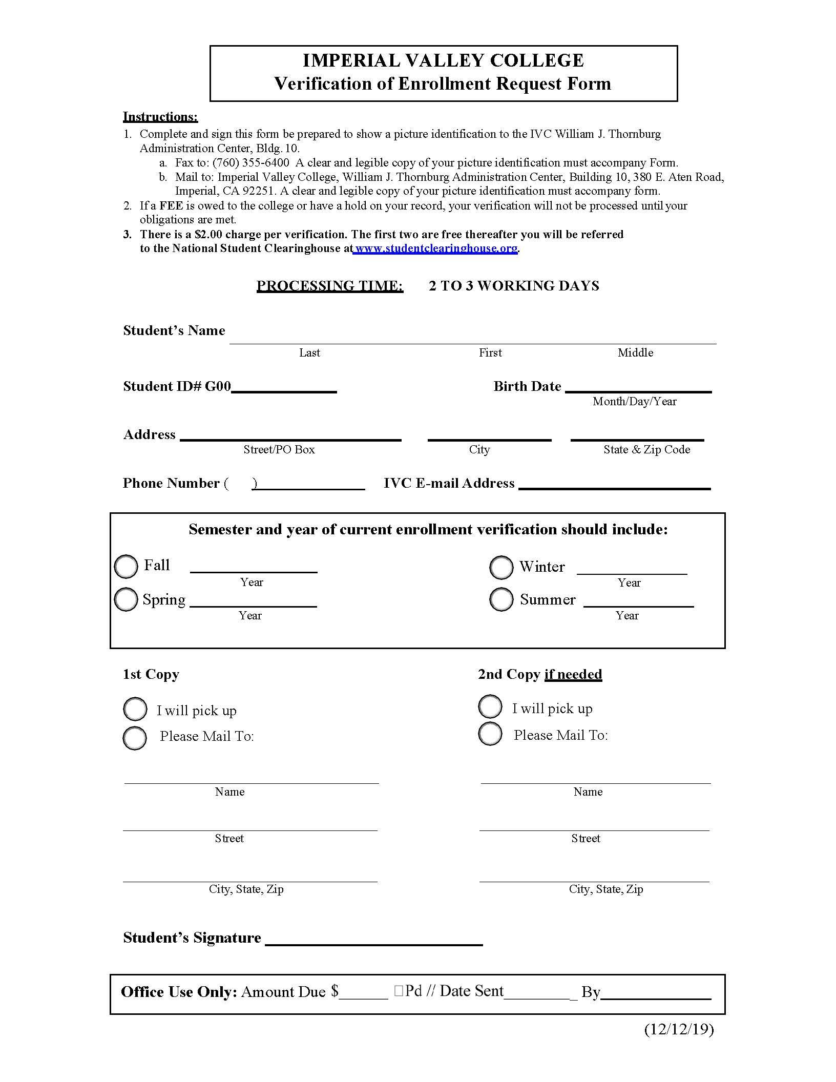 Enrollment Verification Form