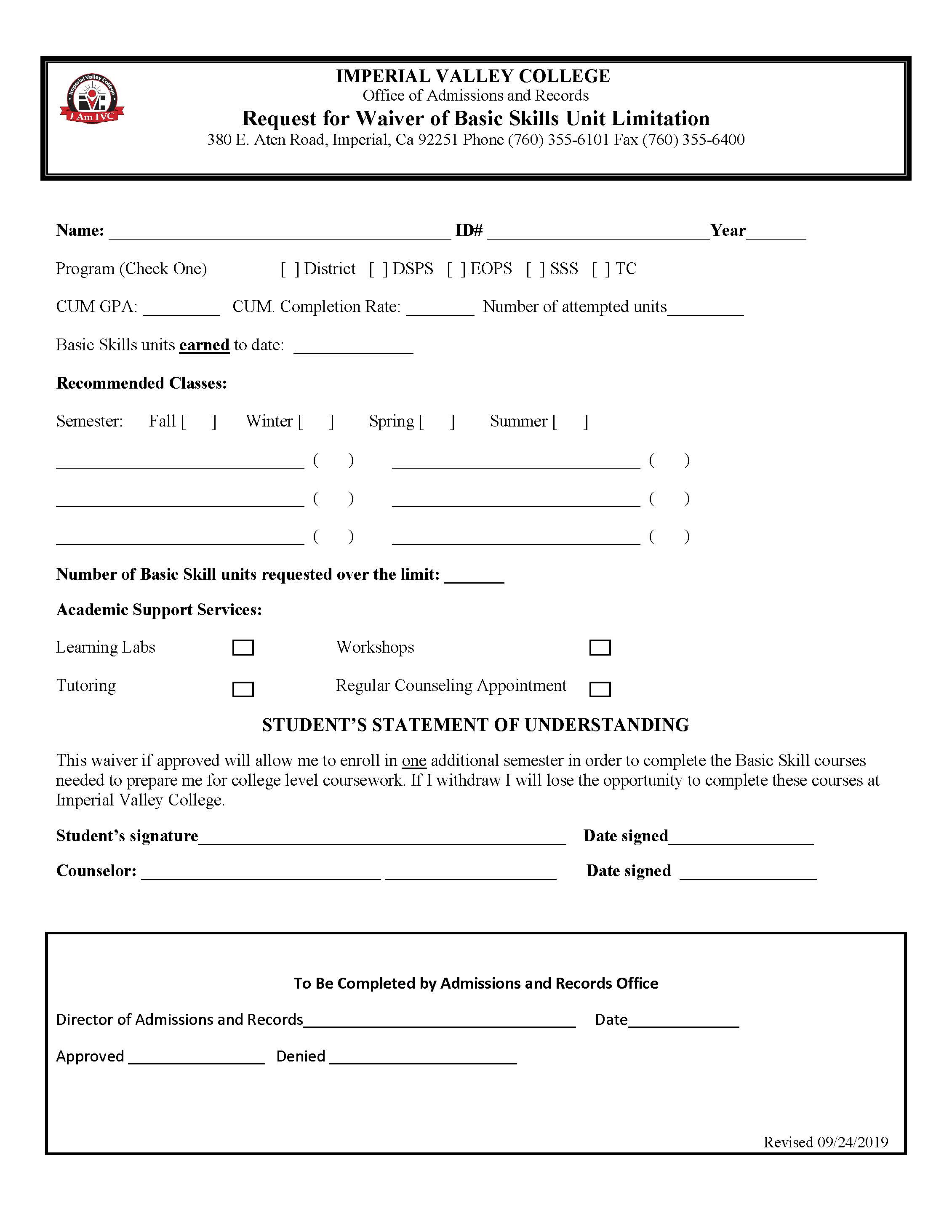 Request Form - Waiver for 30 Unit Basic Skills Limit