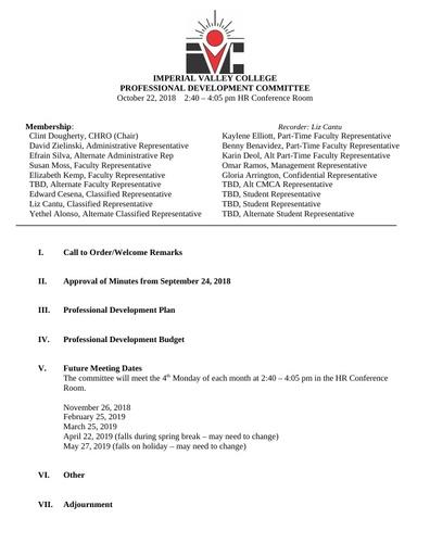 Professional Development Committee Agenda 10 22 18