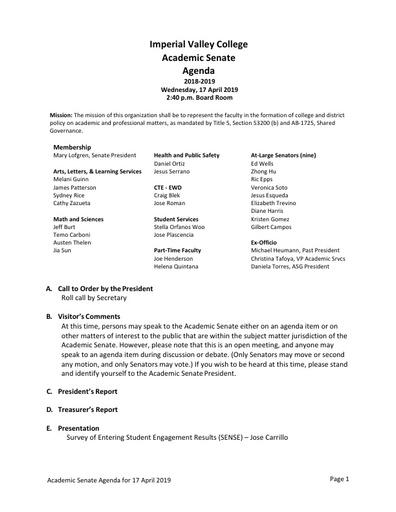 Academic Senate agenda 2019 04 17