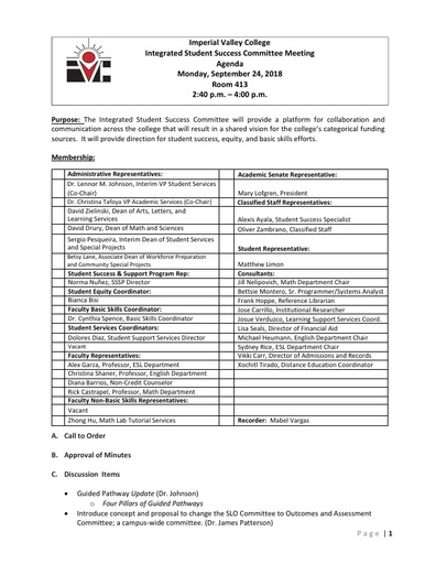 Agenda-Integrated Student Success Committee_2018-09-24