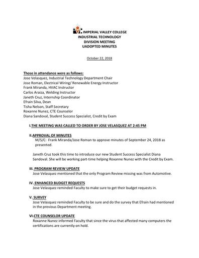 Industrial Tech Dept Meeting Minutes 10-22-18
