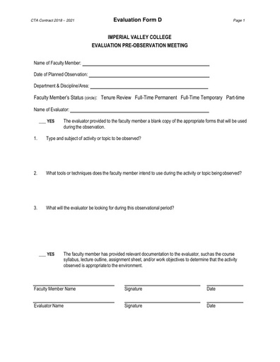 CTA Contract 2018 2021 Evaluation Form D