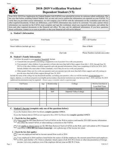 V5 Dep Verification Worksheet 18-19
