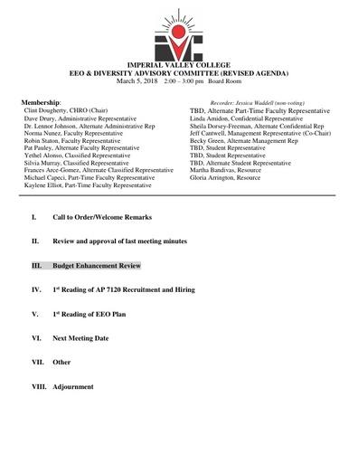 EEO & Diversity Advisory Committee Agenda 03/05/18