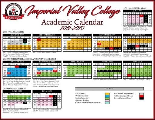 2019 20 ivc academic calendar