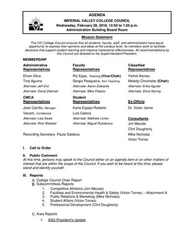 Agenda College Council 2018-02-28