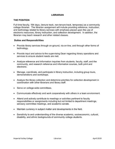 Librarian Job Description (April 2019)