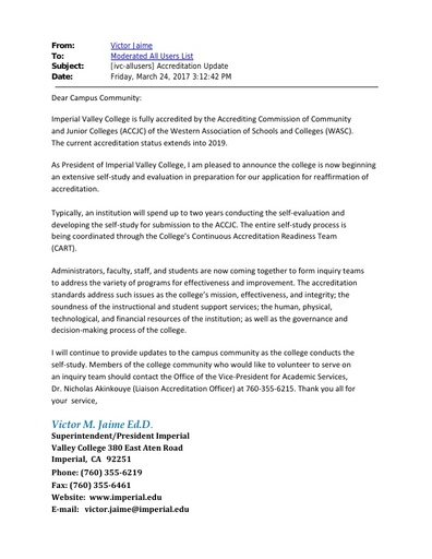 Accreditation Update 2017 03 24 - Imperial Valley College
