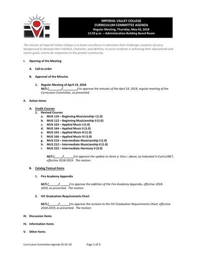 Agenda Curriculum 2018-05-13
