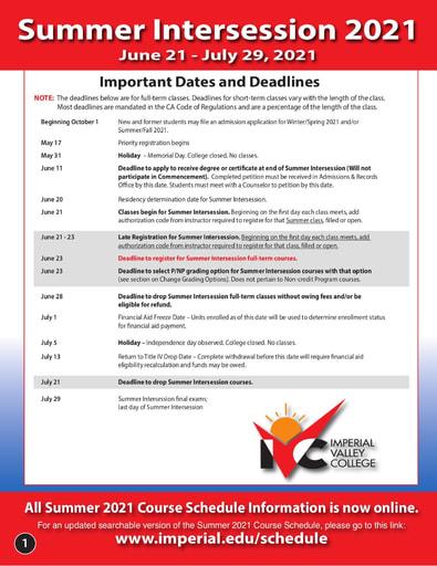 2021-06-21 - IVC Summer Schedule