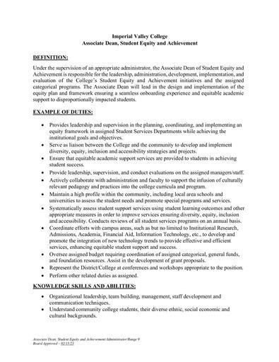 Associate Dean, Student Equity and Achievement