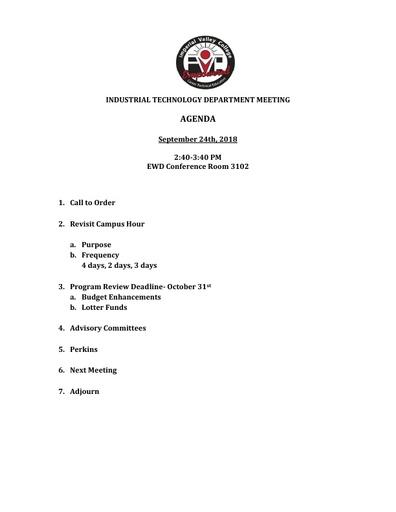 Industrial Tech Agenda 9-24-18