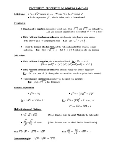 IVC factsheet radicals
