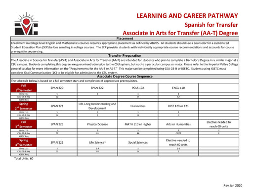 Spanish AA ADT - Program Pathway