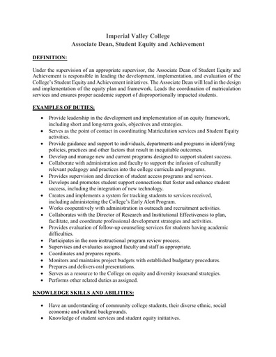 Associate Dean of Student Equity and Achievement (June 3, 2019)