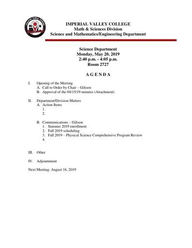 2019-05-20 SME Science Agenda