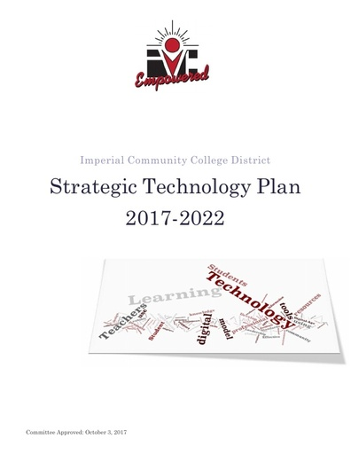 2017 - 2022 Strategic Technology Plan - approved October 2017