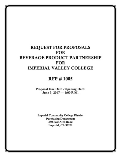 RFP - Soft Drinks 2017