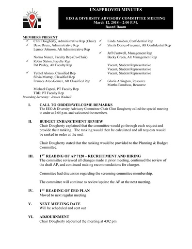 EEO & Diversity Advisory Committee Minutes 03/12/18