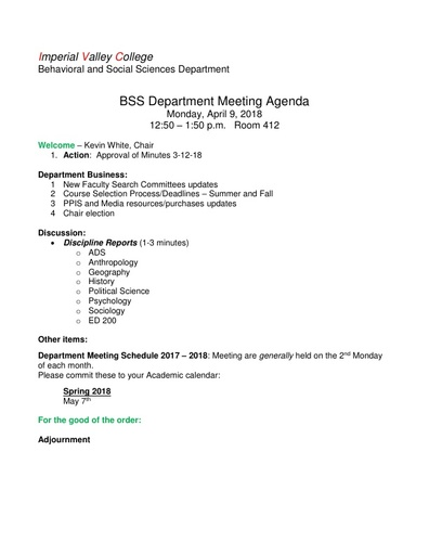 Agenda BSS Dept Mtg 4 9 2018