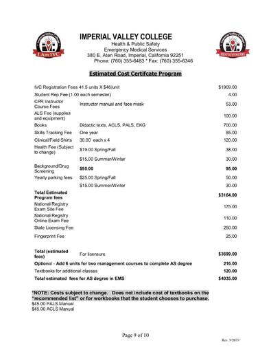 IVC Paramedic Certificate Program Estimated Cost