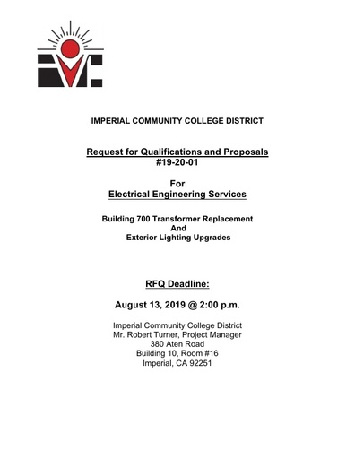 RFQ No 19 20 01 Electrical Engineering Services - Bldg 700 Transformer Replacement and Exterior Lighting Upgrades