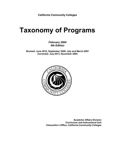 Taxonomy of Programs (TOP) Codes and Classification of Programs (CIP) Codes