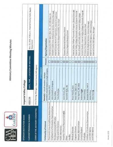 2016-10-22 EMS Program Advisory Committee Minutes