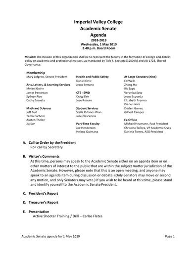 Academic Senate agenda 2019 05 01