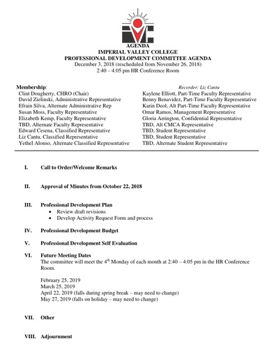 Professional Development Committee Agenda 12-3-18