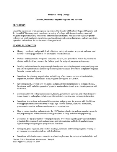 Director of Disability Services & Programs for Students (DSPS)