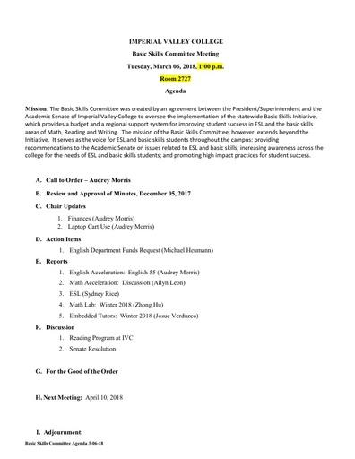 Basic Skills Agenda 2018 03 06