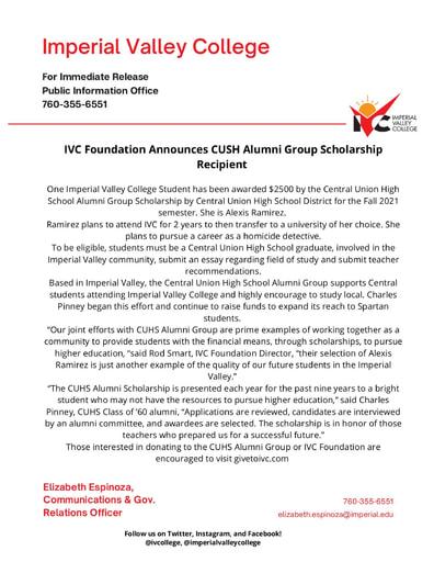 CUHS Alumni Group Scholarship