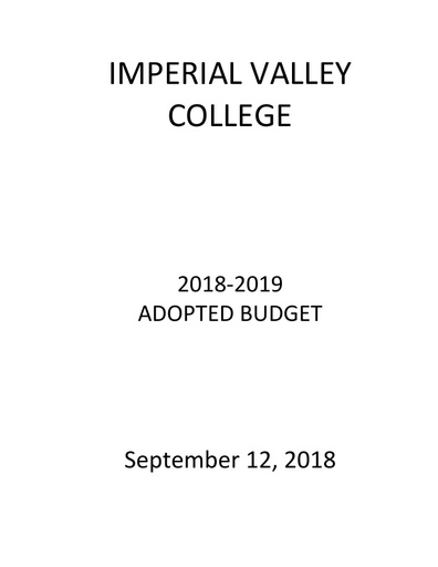 2018-19 Final Adopted Budget