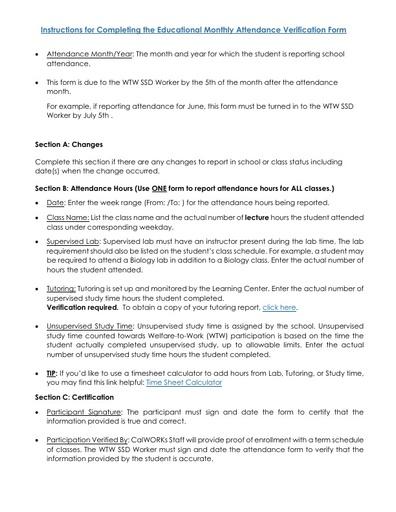 Instructions for Attendance Verification Form