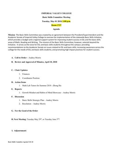 Basic Skills Agenda 2018 04 10