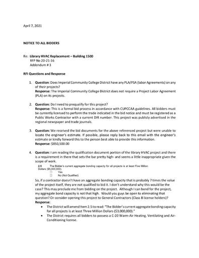 Addendum #3: RFI Responses