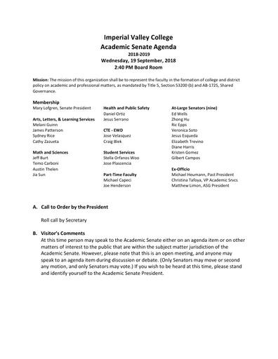 Academic Senate agenda 2018-09-19