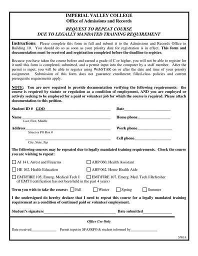 Repeat Petition - Legally Mandated Training Requirement