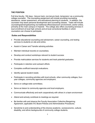Counselors Job Description