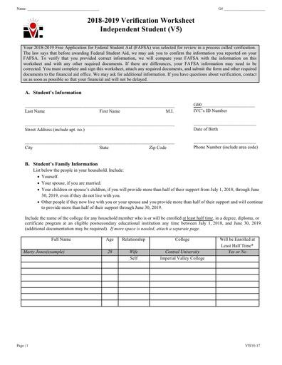 V5 Ind Verification Worksheet 18-19