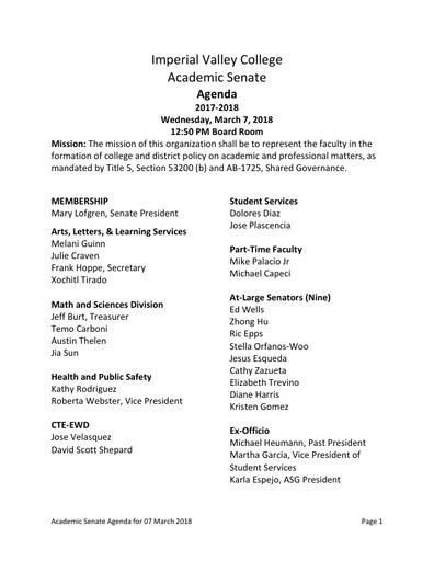 Agenda Academic Senate 2018-03-07